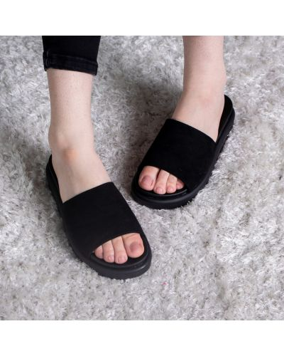 Мягкие замшевые черные шлепанцы Fashion
