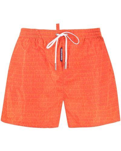 С кулиской оранжевые плавки-боксеры с нашивками Dsquared2