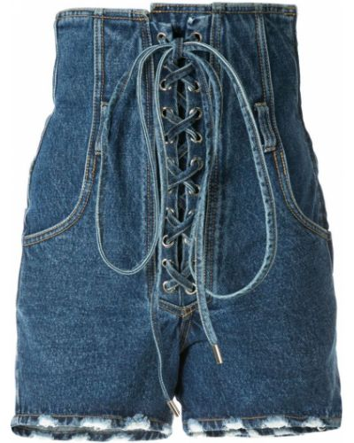 Однобортные джинсовые шорты с карманами на шнуровке со стразами Pony Stone