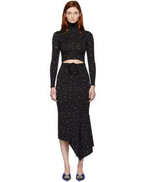 Платье макси с цветочным принтом через плечо Vetements