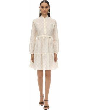 Платье с поясом на пуговицах со складками Gucci