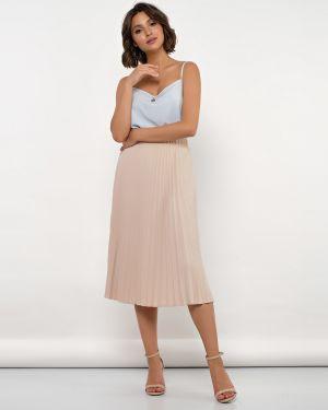 Плиссированная юбка на резинке с поясом Jetty