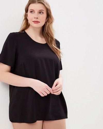 Блузка с коротким рукавом черная весенний Zizzi