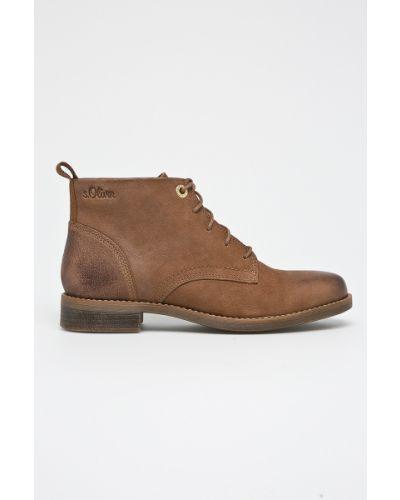Кожаные сапоги на шнуровке S.oliver