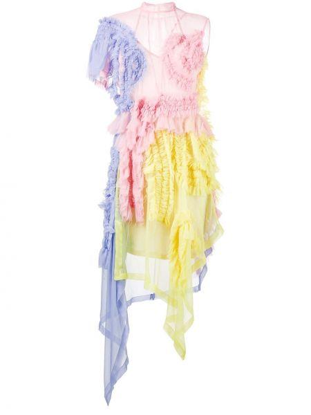 Асимметричное шелковое платье Preen By Thornton Bregazzi