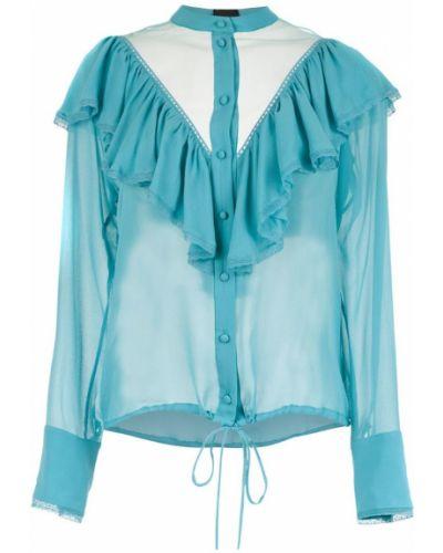 Блузка с длинным рукавом с рюшами прозрачная Andrea Bogosian