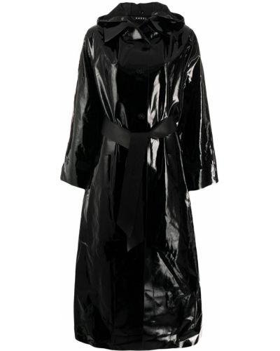 Однобортное черное длинное пальто с капюшоном Kassl