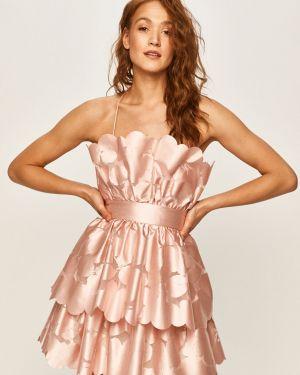 Sukienka midi z długim rękawem różowa Pinko