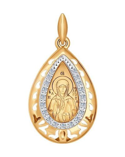 Золотистый крест золотой с декоративной отделкой Sokolov
