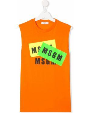 Оранжевая футболка Msgm Kids