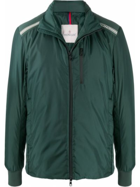 Puchaty klasyczny zielony kurtka z kapturem z kieszeniami Moncler
