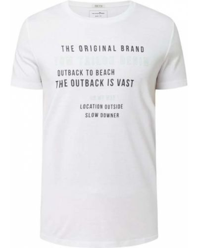T-shirt bawełniana - biała Tom Tailor Denim