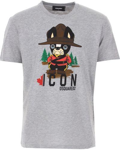 Szara włoska t-shirt Dsquared