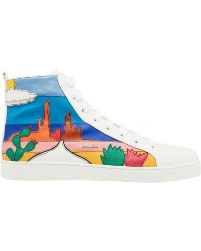 Высокие кроссовки с логотипом цветные Prada