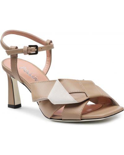 Beżowe klasyczne sandały Pollini