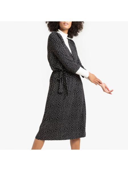 Платье миди в горошек с запахом La Redoute