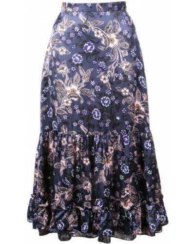 Синяя юбка миди с оборками в рубчик Jill Stuart