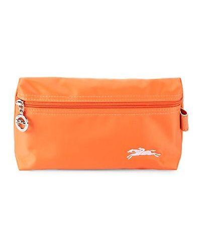Оранжевая кожаная ключница с вышивкой Longchamp