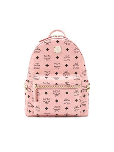 Кожаный рюкзак розовый с шипами Mcm