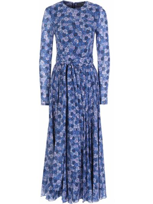 Повседневное с рукавами платье миди с поясом Terekhov