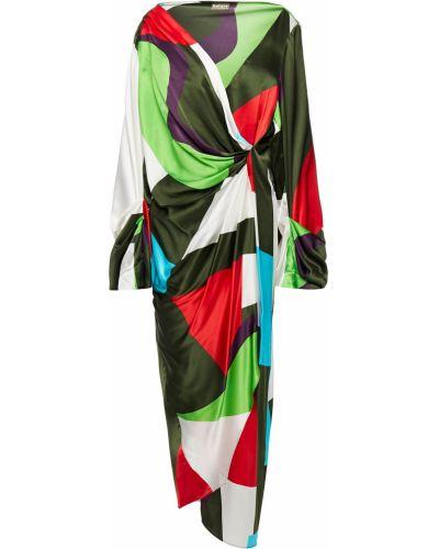 Шелковое платье миди - зеленое Solace London