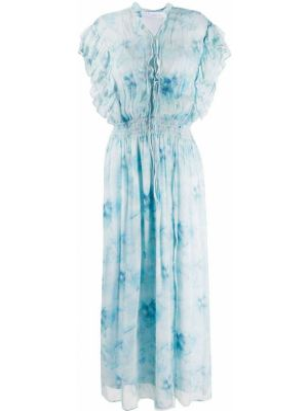Приталенное платье мини с оборками с воротником эластичное Iro