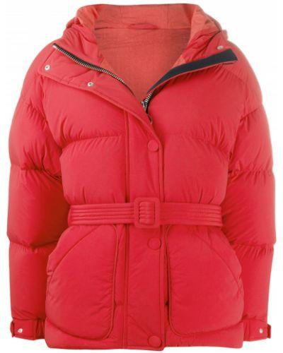 Красная классическая нейлоновая стеганая куртка на кнопках Ienki Ienki