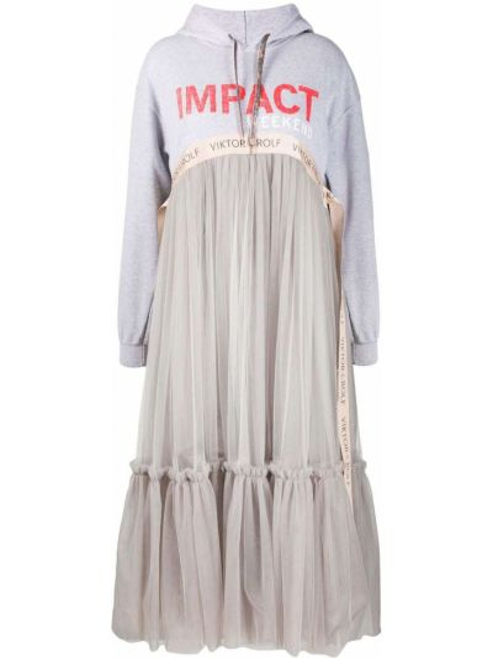 Классическое серое платье из фатина с капюшоном Viktor & Rolf