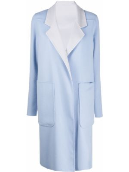 Синее шерстяное длинное пальто с капюшоном Manzoni 24