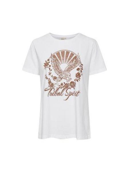 T-shirt z printem - biała Cream
