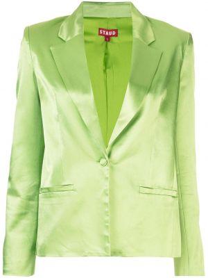 Прямой зеленый классический пиджак с карманами Staud