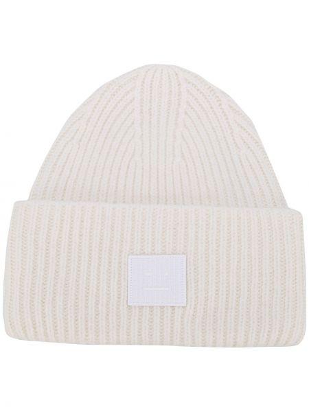 Trykotowy kapelusz z logo biały Acne Studios