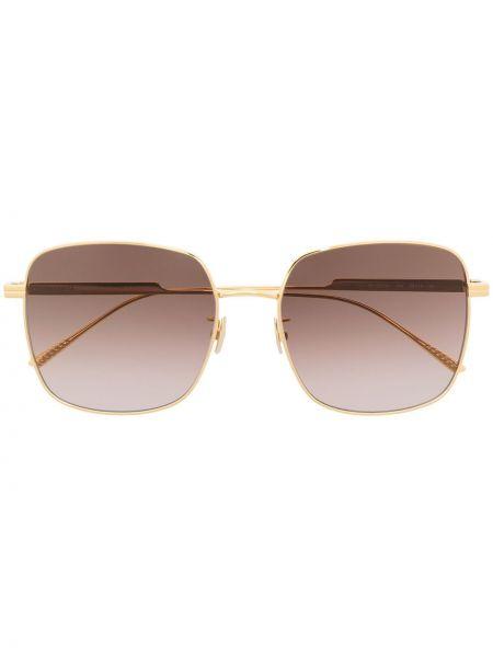 Прямые желтые солнцезащитные очки квадратные металлические Bottega Veneta Eyewear