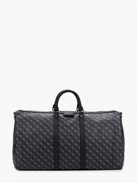 Черная дорожная сумка из искусственной кожи Guess