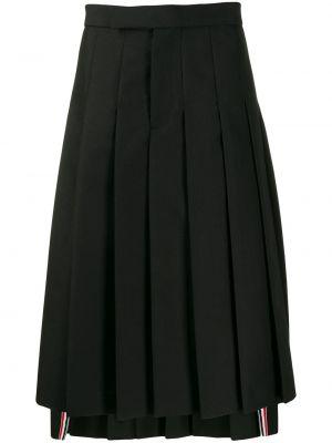 Шерстяная черная плиссированная юбка Thom Browne