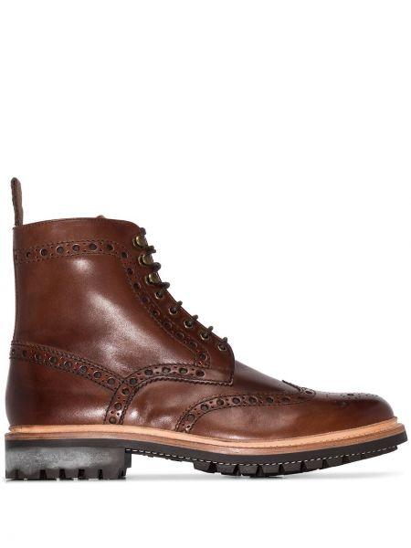 Кожаные коричневые кожаные ботинки на шнуровке круглые Grenson