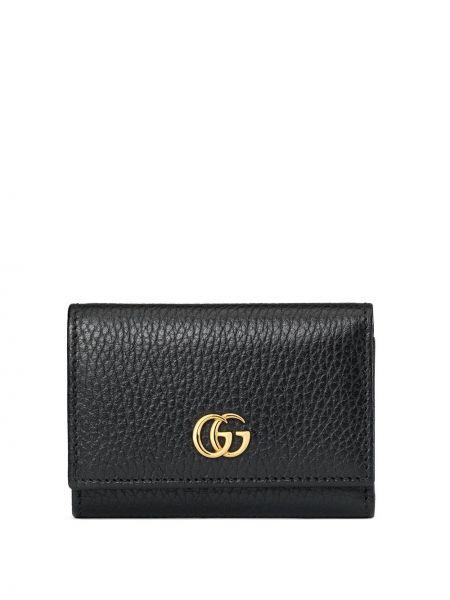 Czarny skórzany portfel z gniazdem Gucci