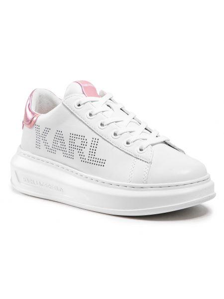 Białe półbuty skorzane Karl Lagerfeld