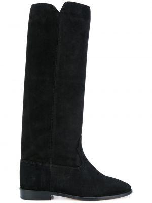 Czarny buty z prawdziwej skóry w połowie kolana okrągły nos Isabel Marant