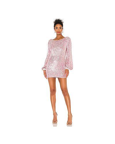 Открытое розовое платье мини с открытой спиной с пайетками Retrofete