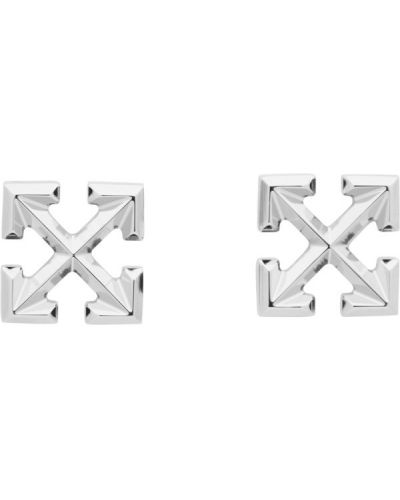 Ze strzałkami srebro kolczyki ze sztyftem Off-white
