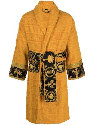 Długi szlafrok bawełniany z długimi rękawami z printem Versace