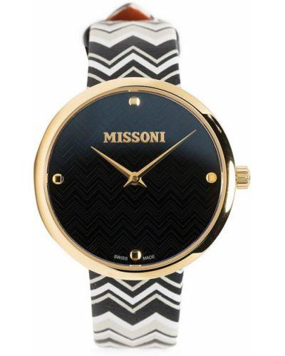 Czarny złoty zegarek na skórzanym pasku szafir Missoni