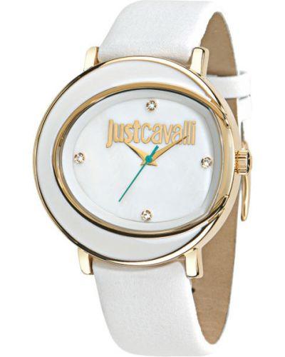 Водонепроницаемые часы на кожаном ремешке кварцевые Just Cavalli
