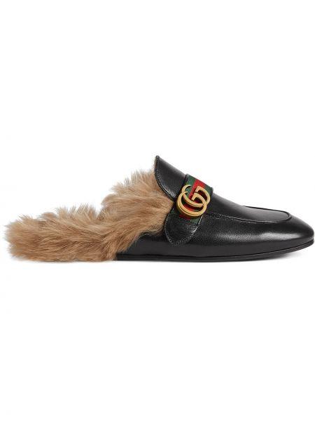 Czarne kapcie skorzane Gucci