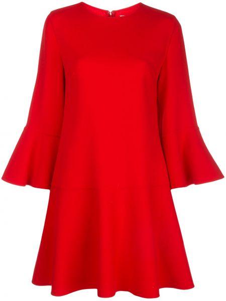 Красное расклешенное платье мини с вырезом круглое Oscar De La Renta