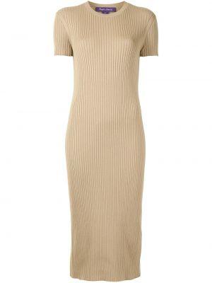 Beżowa sukienka z jedwabiu Ralph Lauren Collection