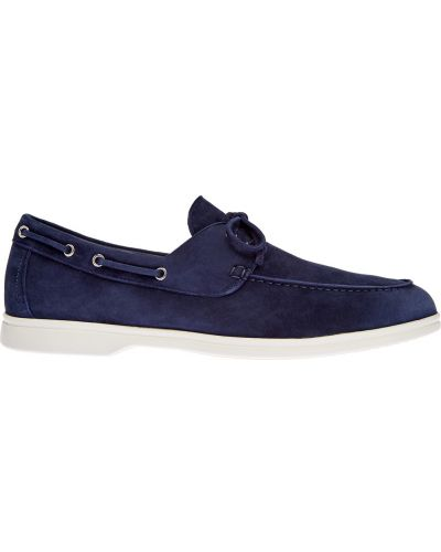 Синие кожаные деловые лоферы на шнуровке Barrett
