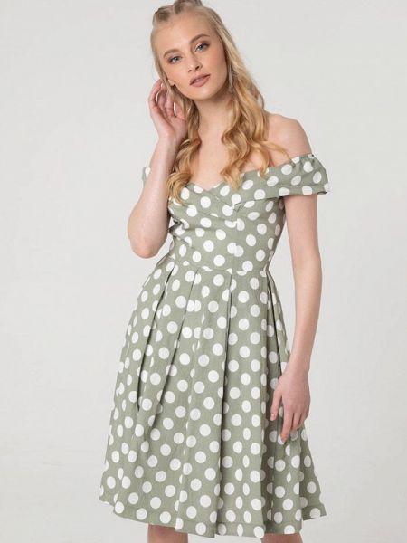 Платье хаки с открытыми плечами Lmp