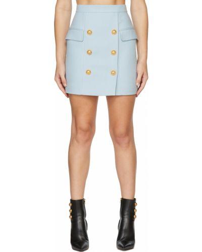 Синяя юбка мини короткая Balmain